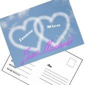 Ballonweitflugkarten Just Married Herzen, personalisiert mit Namen und Anschrift