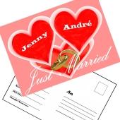 Ballonweitflugkarten Just Married Hochzeitsringe, personalisiert mit Namen und Anschrift