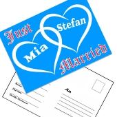 Ballonweitflugkarten Just Married, personalisiert mit Namen und Anschrift