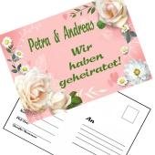 Ballonweitflugkarten Wir haben geheiratet, personalisiert mit Namen und Anschrift