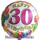 Happy Birthday 30 Balloons Luftballon mit Helium-Ballongas zum 30. Geburtstag