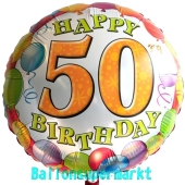 Happy Birthday 50 Luftballon, Balloons, ohne Helium