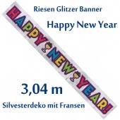 Dekoration Silvester glitzerndes Riesenbanner Happy New Year, Silvesterdeko, Neujahrs-Banner