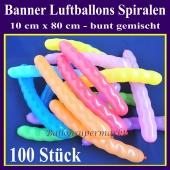 Banner-Spiralen-Luftballons, 100 Stück, bunt gemischt