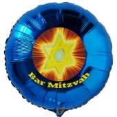 Bar Mitzvah Rundballon mit Judenstern, Luftballon aus Folie mit Helium-Ballongas