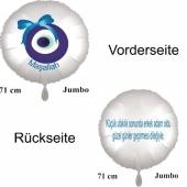 """Großer Runduftballon in Satin Weiß, 71 cm """"Kücük ufaklik sonunda erkek adam oldu güzel günler gecirmesi dilegiyle"""""""