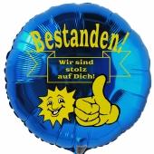 Bestanden! Wir sind stolz auf Dich! Blauer Luftballon aus Folie mit Helium Ballongas