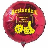 Bestanden! Wir sind stolz auf Dich! Luftballon aus Folie mit Helium Ballongas