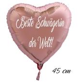Beste Schwägerin der Welt! Luftballon in Herzform aus Folie ohne Helium