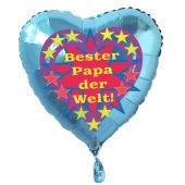 Herzluftballon zum Vatertag. Bester Papa der Welt! Türkis, 45 cm inklusive Ballongas Helium