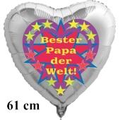 Herzluftballon zum Vatertag. Bester Papa der Welt! Silber, 61 cm inklusive Ballongas Helium