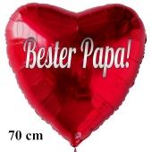 Bster Papa! Großer Herzluftballon aus Folie ohne Helium