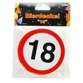 Bierdeckel Verkehrsschild 18 zum 18. Geburtstag