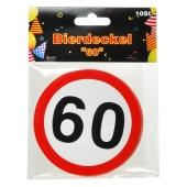 Bierdeckel Verkehrsschild 60 zum 60. Geburtstag