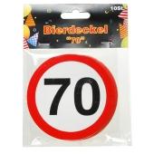 Bierdeckel Verkehrsschild 70 zum 70. Geburtstag