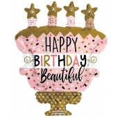 Birthday-Cake-With-Stars-Shape-Foil-balloons