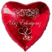 Hochzeitsballon, Luftballon zur Hochzeit, roter Herzballon Biz Evleniyoruz