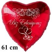 Hochzeitsballon, 61 cm großer Luftballon zur Hochzeit, roter Herzballon Biz Evleniyoruz