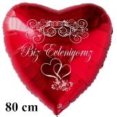 Hochzeitsballon, 80 cm großer Luftballon zur Hochzeit, roter Herzballon Biz Evleniyoruz