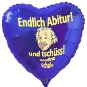 Herzluftballon in Blau zur Abiturfeier, Endlich Abitur! Und tschüss, goodbye Schule