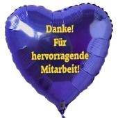 Danke! Für hervorragende Mitarbeit! Blauer Luftballon in Herzform aus Folie mit Helium