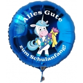 Alles Gute zum Schulanfang blauer Luftballon mit Einhorn aus Folie inklusive Ballongas Helium