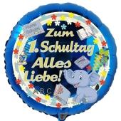Zum 1. Schultag Alles Liebe! Blauer Luftballon mit Ballongas Helium gefüllt zur Einschulung, zum Schulanfang