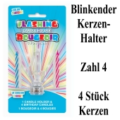 Blinkender Kerzenhalter, Zahl 4, mit 4 Geburtstagskerzen