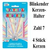 Blinkender Kerzenhalter, Zahl 7, mit 4 Geburtstagskerzen