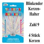 Blinkender Kerzenhalter, Zahl 9, mit 4 Geburtstagskerzen
