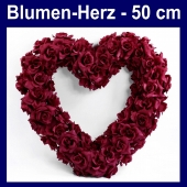 Blumen-Herz-Hochzeitsdekoration-Herz-aus-Blumen-Dunkelrot