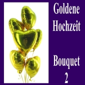 Bouquet 2 zur Goldenen Hochzeit, goldene Herzluftballons mit Ballongas, Dekoration
