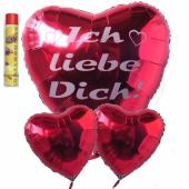 Ich liebe dich, schwebende Helium Luftballons, Bouquet, inklusive Heliumdose