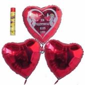 Valentinstag, schwebende Helium Luftballons, Bouquet 9, inklusive Heliumdose, Zum Valentinstag Alles Liebe