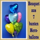 Bouquet aus 7 bunten Herzluftballons aus Folie mit Ballongas Helium zu Liebe und Valentinstag