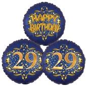 Bouquet aus Luftballons zum 29. Geburtstag, Satin de Luxe, Navy Blue