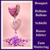 Dekoration zum Muttertag, Bouquet aus Heliumballons und Dekoration, zum Muttertag alles Liebe