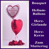 Dekoration zum Muttertag, Bouquet aus Heliumballons und Dekoration, zum Muttertag alles Liebe, 02