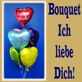 Bouquet aus 6 bunten Herzluftballons aus Folie und einem Herzballon ich liebe dich mit Ballongas Helium zu Liebe, Hochzeit und Valentinstag
