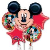 Luftballon-Bouquet Mickey Mouse, 5 Folienballons zum Kindergeburtstag mit Helium