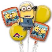 Luftballon-Bouquet Minions, 5 Folienballons zum Kindergeburtstag mit Helium