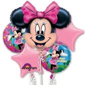 Luftballon-Bouquet Minnie Mouse, 5 Folienballons zum Kindergeburtstag mit Helium