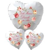 Bouquet Liebe Mama! Danke für Alles! Ein 71 cm großer Luftballon in Herzform aus Folie, zwei 45 cm große Herzluftballons mit Helium zum Muttertag
