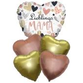 Bouquet 36 zum Muttertag, 5 Heliumballons