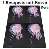 4 Bouquets mit Rosen in Rosa, Hochzeitsauto Türdekoration, Dekoration Hochzeit