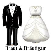 Braut & Bräutigam, große Luftballons aus Folie zur Hochzeit