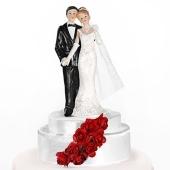 Brautpaar, weiss mit roten Rosen, Dekoration Hochzeitstorte