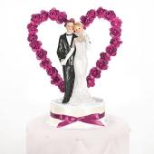 Brautpaar vor Rosenherz, pink, Dekoration Hochzeitstorte