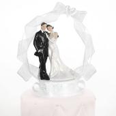 Brautpaar vor Rundbogen, Dekoration Hochzeitstorte