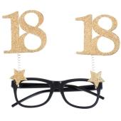 Party-Brille zum 18. Geburtstag, Gold Glitter